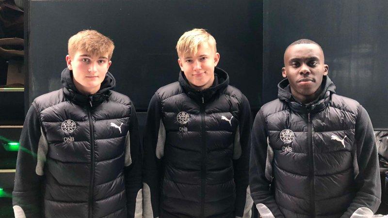 Tre debutanter fra U-avdelingen: Ole Enersen (t.v.v), Fabian Holst-Larsen og Riel Nguen.